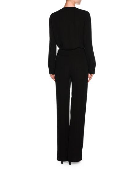 Cravat-Detail Tuxedo Blouse, Black