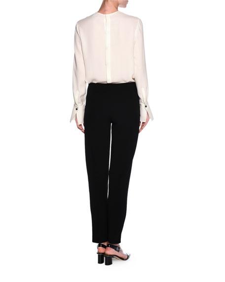 Ruffled Button-Back Tuxedo Blouse, Off White