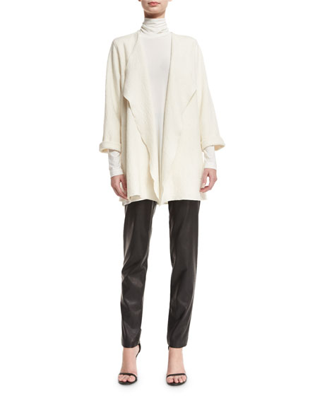 Mock-Neck Back-Zip Knit Tunic, Off White