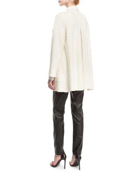 Mock-Neck Back-Zip Knit Tunic, Off White, Petite