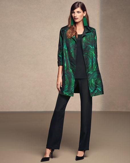 Night Blooms Jacquard Party Jacket, Emerald/Black, Plus Size