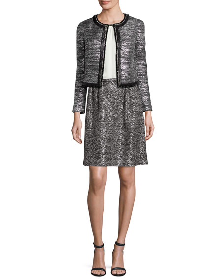 St. John CollectionPainted Metallic Embellished-Trim Jacket,