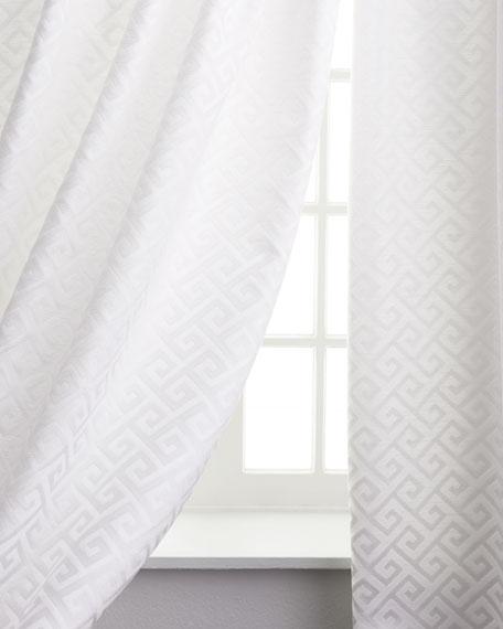 """Two 108""""L Greek Key Curtains"""
