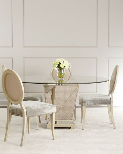 Milo Mirrored Dining Table Gwyneth Chair