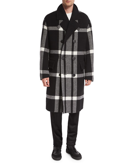 Double-Breasted Large Check Overcoat, Black