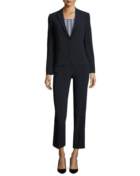 Stretch-Wool One-Button Jacket, Midnight