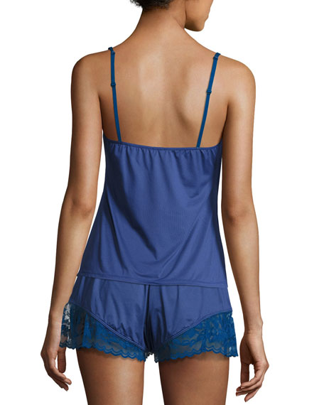 Cosmopolitan Lace-Trimmed Lounge Camisole, Marine Blue