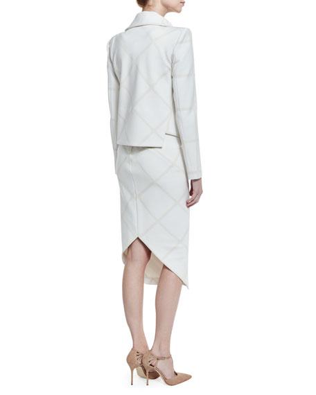 Tonal Plaid Moto Jacket, White/Ivory