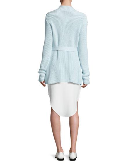 Belted Long Knit Cardigan, Seafoam