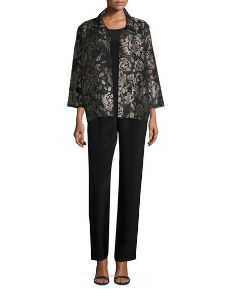 Mid-Length Silk Crepe Tank Top, Black, Women's