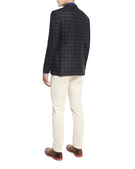 Plaid Three-Button Sport Coat, Dark Charcoal