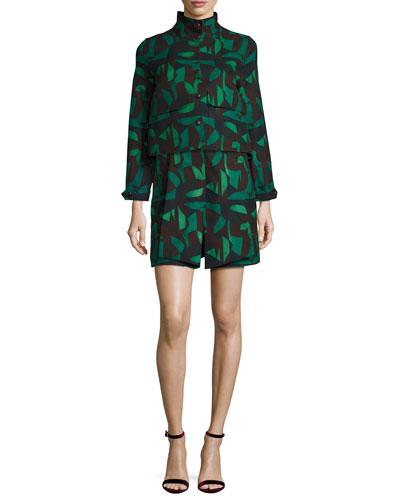 Garden-Print Jacket & Skirt