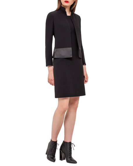 Ilke Organza-Hem Long-Sleeve Jacket, Black