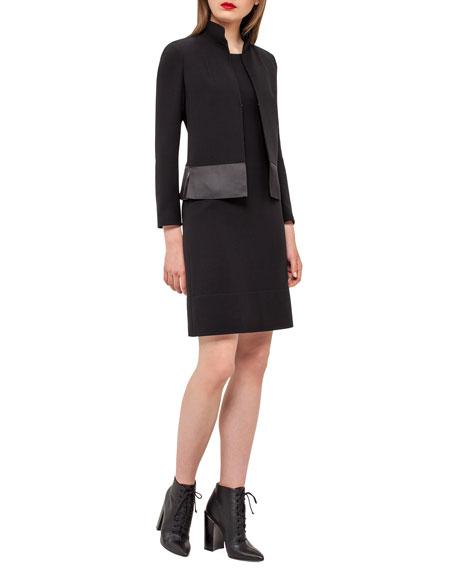 Ilke Organza-Hem Long-Sleeve Jacket, Black