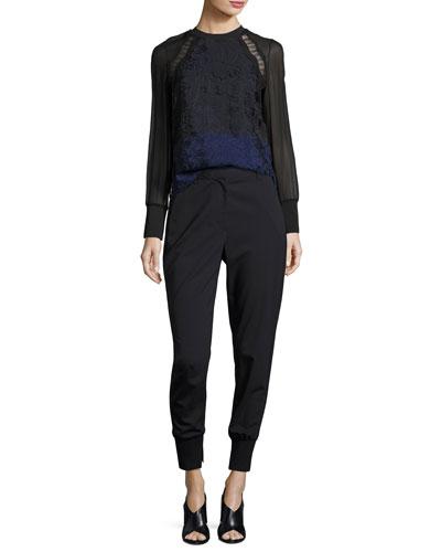 Lace & Chiffon Top & Stretch Wool Track Pants
