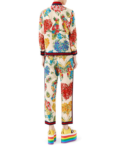 Corsage-Print Silk Pajama Pants, Ivory