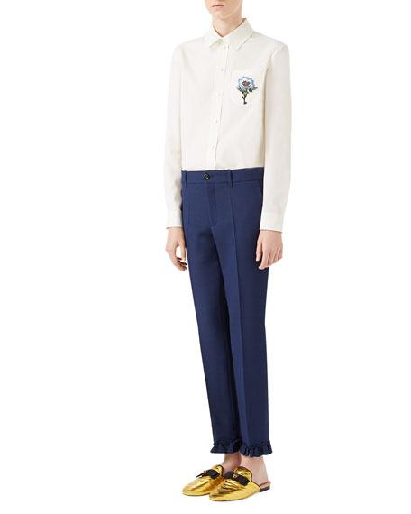 Cotton Poplin 70's Button-Front Blouse, White