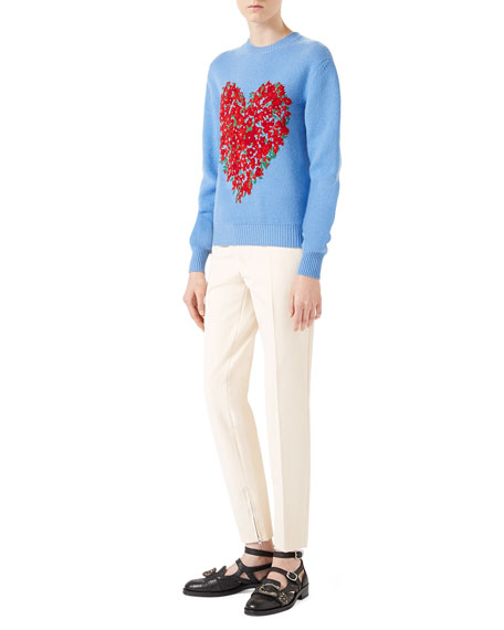 Corsage Intarsia Wool Knit Top, Light Blue