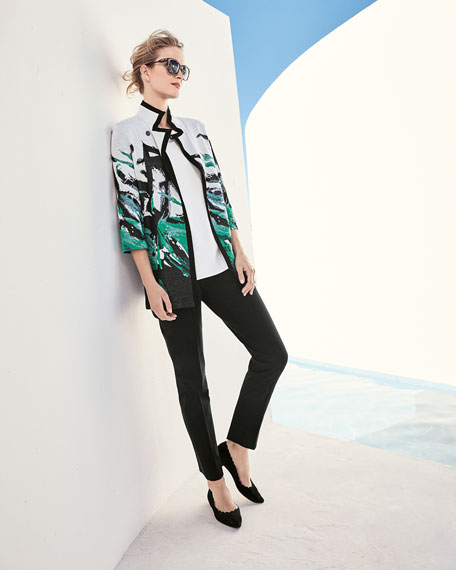 Notched-Collar Graphic-Print Knit Jacket, Multi