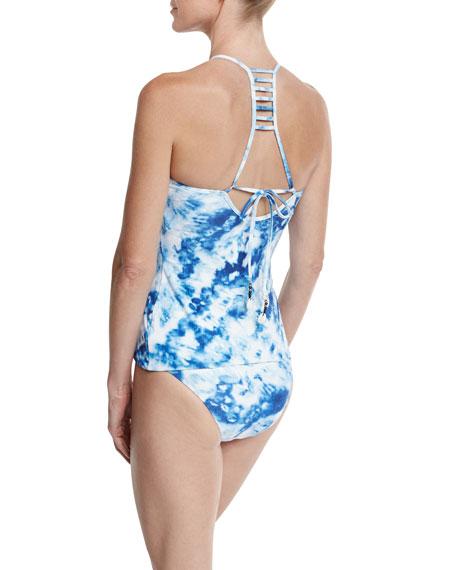 Caribbean Ink Reversible Hipster Swim Bottom, Blue/White