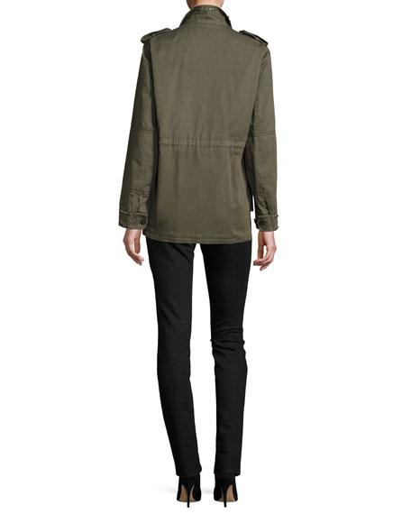 V-Neck Rockstud Pintuck Sweater, Black