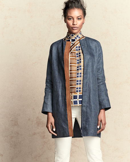 Berkeley Printed Topper Jacket, Double Cloth