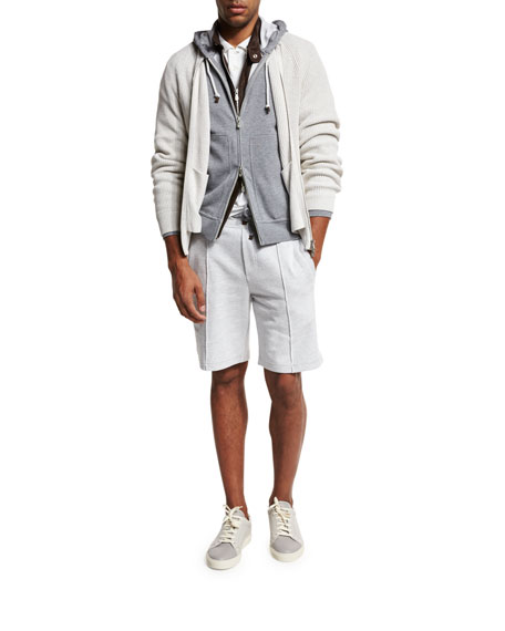 Seam-Detail Drawstring Spa Shorts, Gray