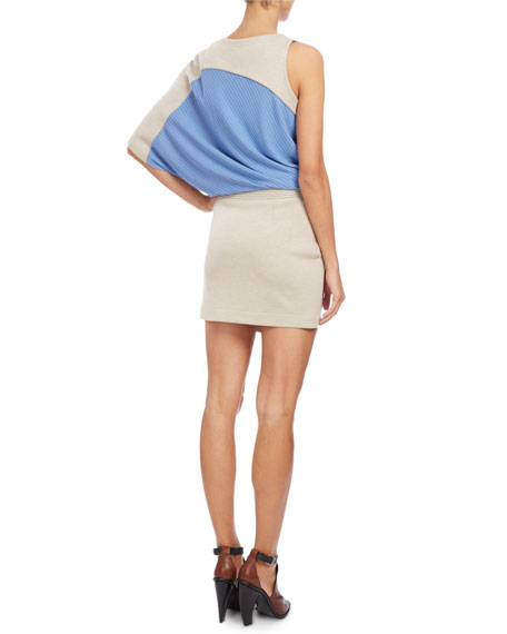 One-Shoulder Ribbed-Inset Top, Open White