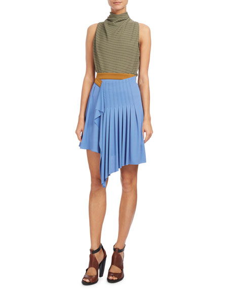 Draped Mock-Neck Sleeveless Top, Blue/Green