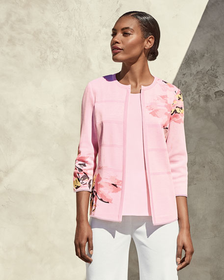 3/4-Sleeve Floral-Print Open Jacket, Pink, Plus Size
