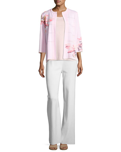 3/4-Sleeve Floral-Print Open Jacket, Pink, Plus Size and Matching Items