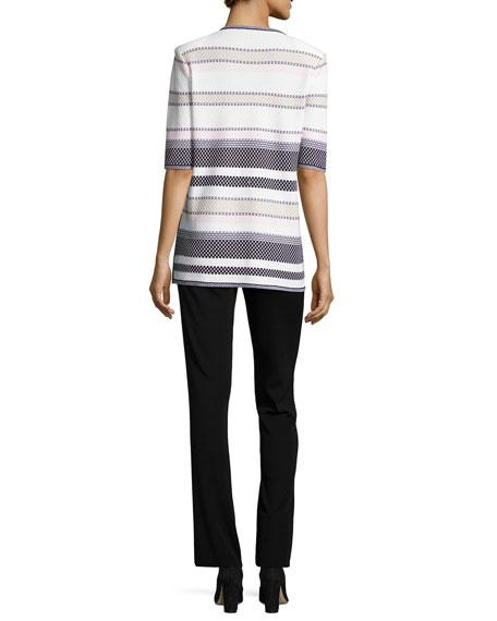 Textured Striped Half-Sleeve Jacket, Petite