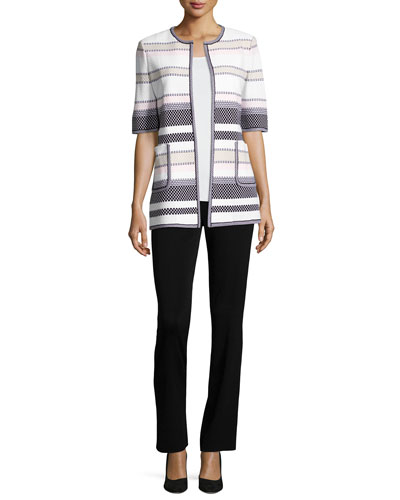 Textured Striped Half-Sleeve Jacket, Plus Size and Matching Items