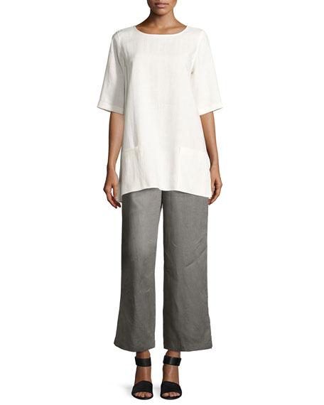 Half-Sleeve Two-Pocket Linen Tunic, Petite