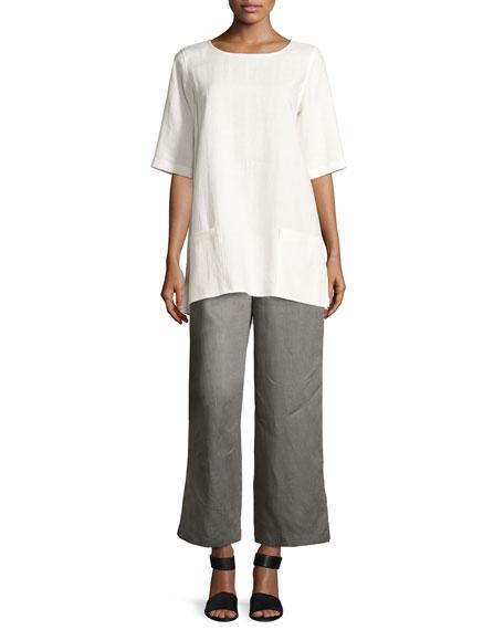 Half-Sleeve Two-Pocket Linen Tunic, Plus Size