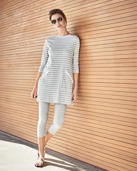 Striped Interlock Tunic, Gray/White, Petite