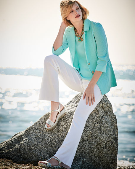 Textured Two-Button Jacket, Sea Grass, Plus Size