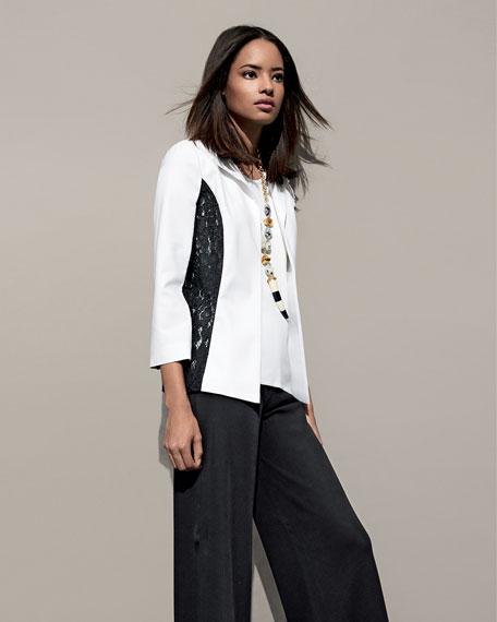 Lace-Detail Wing Collar Jacket, Petite