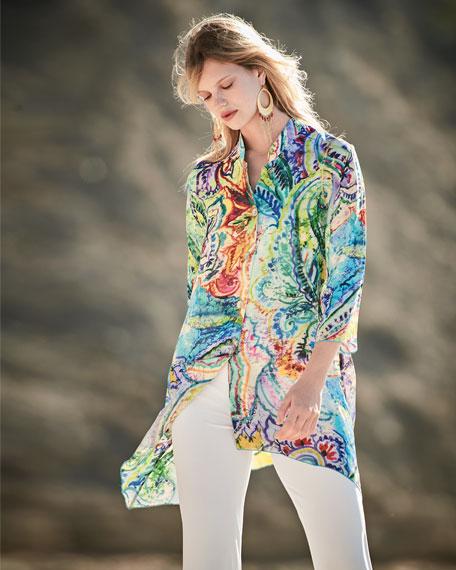Paisley-Print Georgette Blouse