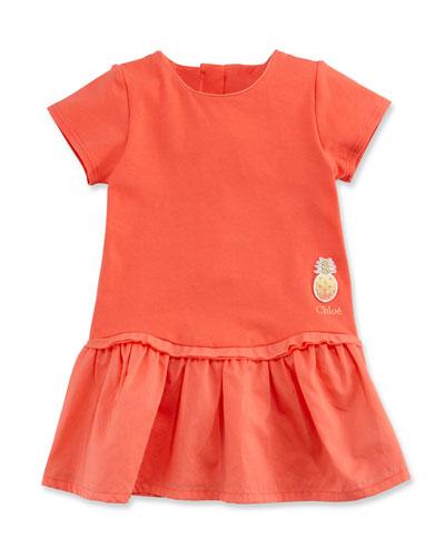 Short-Sleeve Poplin & Jersey Dress