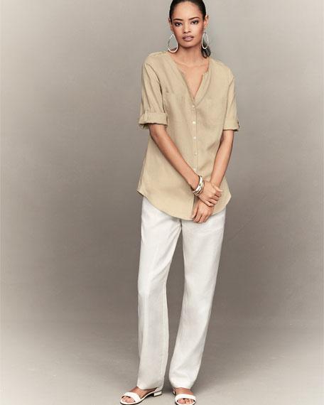 Linen Button-Front Tunic, Petite
