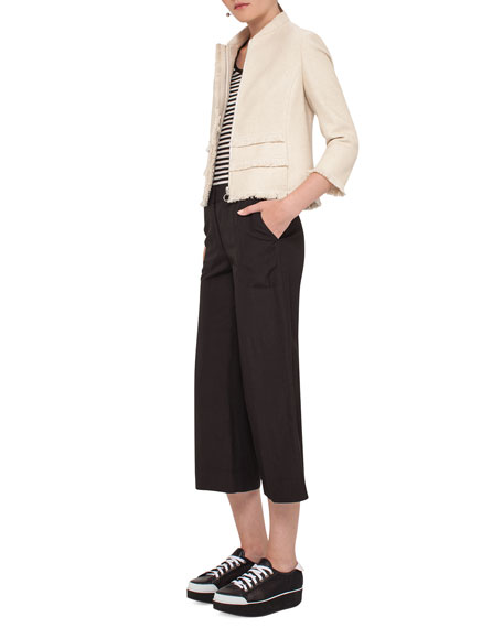 Fringe-Trim Zip-Front Jacket, Linen Reviews