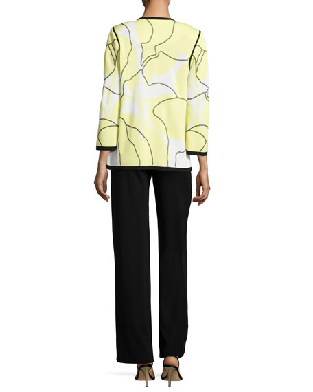 3/4-Sleeve Wild Abstract-Print Open Jacket, Daiquiri Green