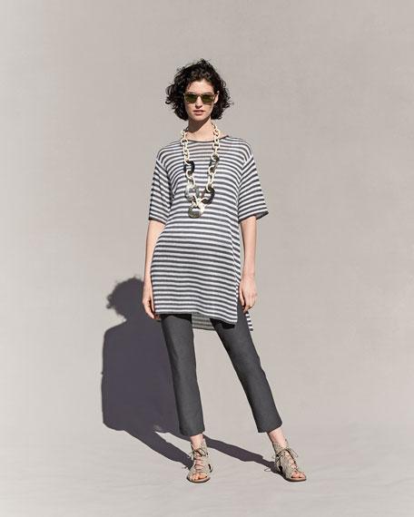 Half-Sleeve Striped Organic-Linen Sweater, Graphite/White, Plus Size