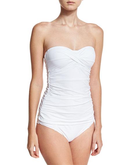 Pearl Solid Shirred Twist-Front Bandini Swim Top