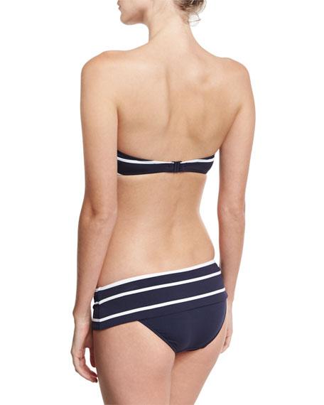Castaway Striped Skirted Hipster Swim Bottom, Blue/White