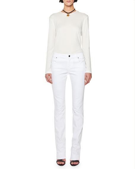 Mid-Rise Straight-Leg Jeans, White