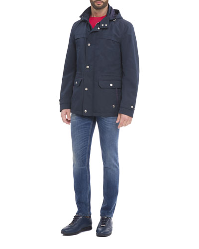 Hooded Parka, T-Shirt, & Jeans