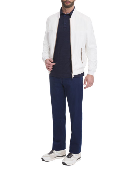 Silk Contrast-Piping Bomber Jacket, White