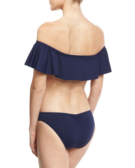 Hey Girl Off-the-Shoulder Swim Top, Navy Blue